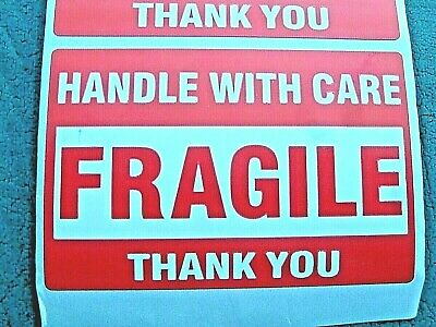 "FRAGILE Handle With Care Stickers 2"" x 3"" Pack of 30 (THIRTY) Self Stick Labels"