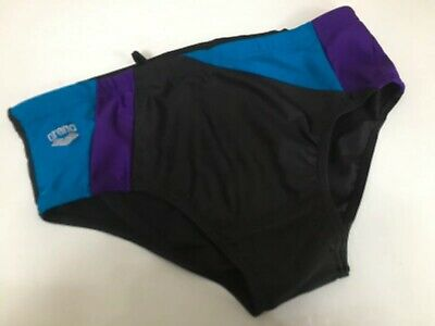 "Vintage 1980s Arena Swimming Trunks  Briefs Black Shiny Glanz Mens 30"" Small XS"