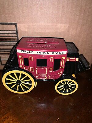 Coin Bank Stage Coach Wells Fargo & Union Trust Co Cast Iron 1998 No Key
