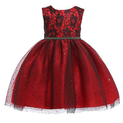 Kids Princess Dress Baby Sleeveless Lace Pageant Birthday Girls Toddler Dresses
