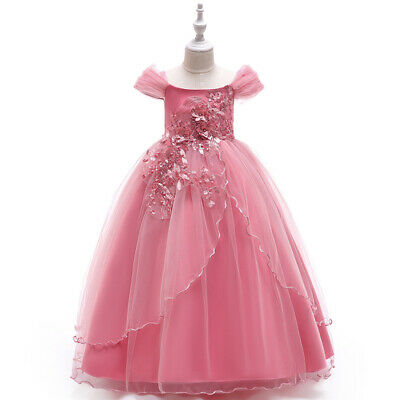 Kid Girls Prom Princess Tutu Dress Wedding Bridesmaid Pageant Party Flower Gown