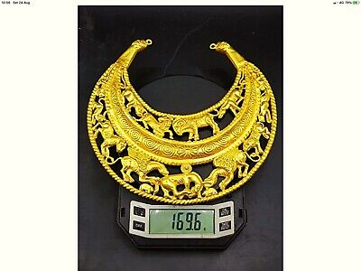 Extremely Rare large Solid Gold Greek Thracian lunar Torc  Necklace 200BC Beast