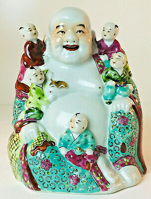 "Vintage 8"" Tall Porcelain Laughing Buddha With Children Figurine Statue"
