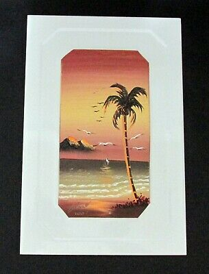 Hand Painted Ceramic Tile Palm Tree Ocean Sailboat Signed 2007 Mexico