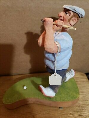 Hand Carved Solid Wood Wooden Golfer Figurine Statue R Thress 92 As Is