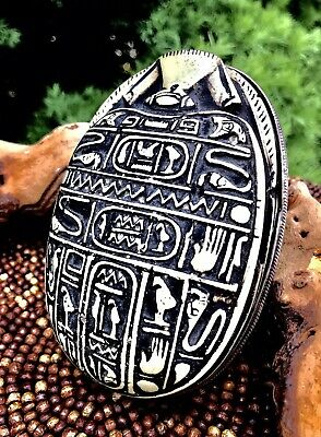 Antique Carved Egyptian  Hieroglyphs Scarab Beetle With Silver Base Paperweight