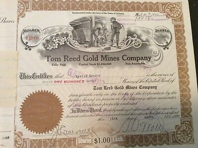 Tom Reed Gold Mines Company 1921  Arizona