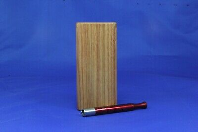 "4"" Classic Dugout One Hitter Exotic Wood Slide Top W/ Red Serrated Shark Tip Bat"