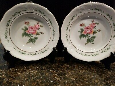 VICTORIAN ROSE by GIBSON DESIGNS~SET 2~RIM CEREAL/SOUP BOWLS~GOLD TRIM~EMBOSSED