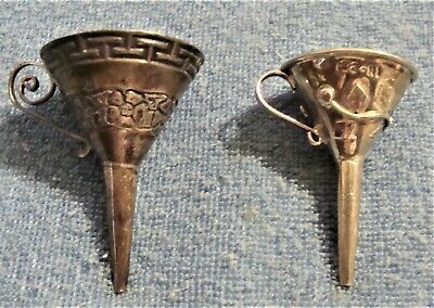 Lot Of 2 Wonderful Antique Sterling Silver Perfume Funnels From Mexico