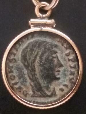 Constantine Great Posthumous Authentic Ancient Roman Coin Gold-Filled Necklace