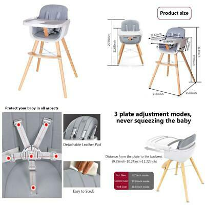 Foho Wooden High Chair Perfect 3 in 1 Convertible Highchair Removable Tray Gray