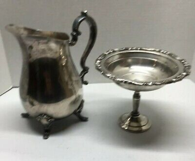 Vintage Lot Of Silverplated Pitcher And FB Rogers Candy Dish