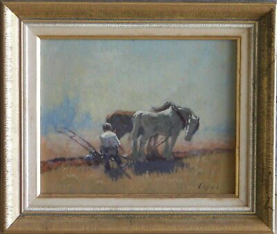 Dixon Copes (1914-2002) Original Oil Painting Clydesdale Horses Ploughing field
