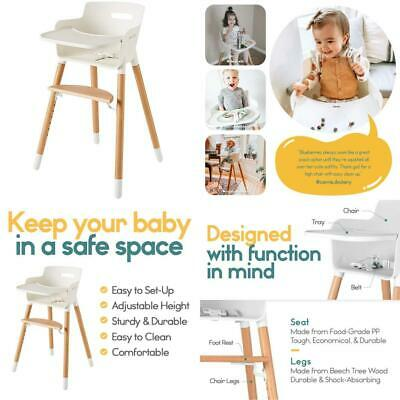 Wooden High Chair for Babies Toddlers w?Harness Removable Tray Adjustable Legs