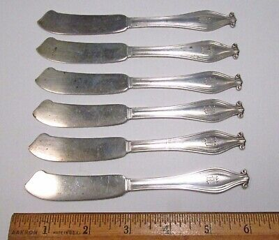 Antique 1913-14 6pc Gorham Weymouth Sterling Silver Butter Knives Spreaders