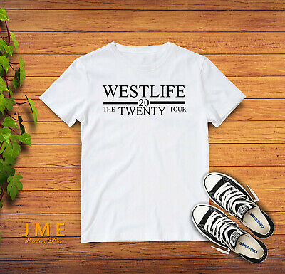 Ladies Fitted tee shirt,Silver Slogan Westlife t-shirt Westlife 20 Tour tshirt