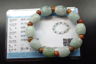 Certified Natural icy green Burma jadeite jade carved bades bracelet Grade A
