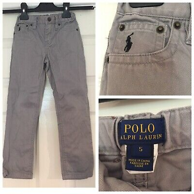 Polo Ralph Lauren Boys Chino Trousers Size 5 Years Grey (654)