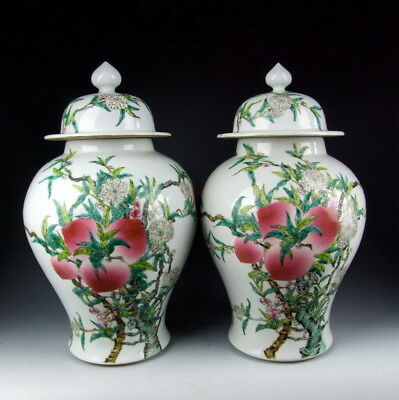 Pair of Chinese Antique Famille Rose Porcelain Lidded Jars with Peach Deco