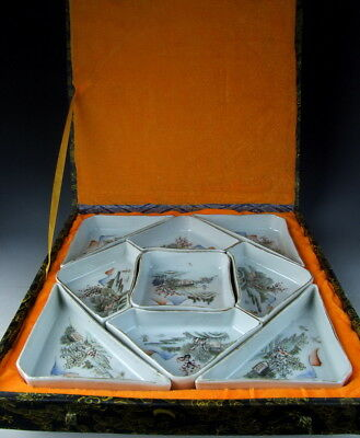 Set of Chinese Antique Famille Rose Porcelain Dinner Dishes with Landscape Scene