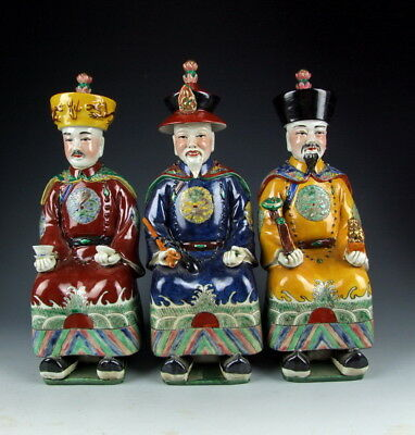 Set of Chinese Antique Famille Rose Porcelain Three Qing-Dynasty Emperor Statues