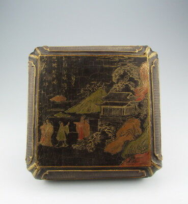 Nice Chinese Antique Lacquer Wooden Jewelry Box with Pattern