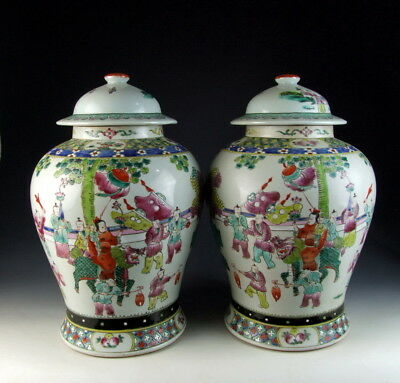 Pair of Chinese Antique Famille Rose Porcelain Lidded Jars with Playing Boy Deco