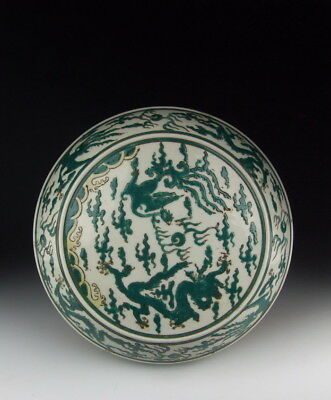 One Nice Chinese Antique Green Glazed Porcelain Food Box w Dragon