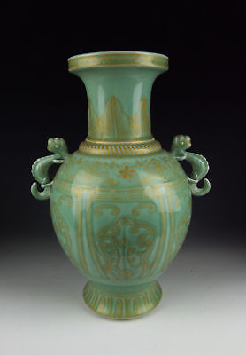 Chinese Antique Gilt Bean-Green Monochrome Glaze Porcelain Vase