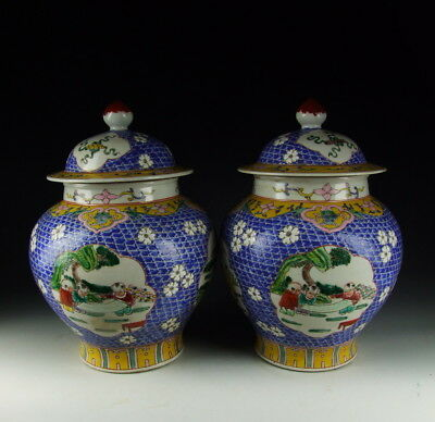 Pair of Chinese Antique Famille Rose Porcelain Lidded Jars w Boy