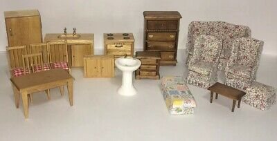 Huge Lot of Dollhouse Furniture Wood Kitchen Stove Sink Cabinets Couch Dresser +