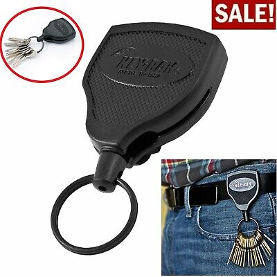 "Heavy Duty 48"" Retractable Key Chain Badge Holder Locking Steel Belt Clip Black"