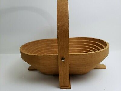 """Collapsible Hand Carved Wood Fruit Basket Bowl with Handle 8""""×9"""""""