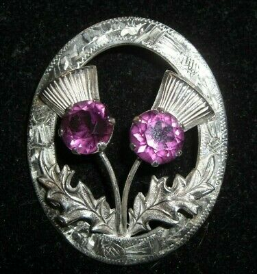 Beautiful Scottish WBS Sterling Silver Amethyst Thistle Pin 11 grams