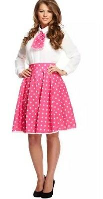 Rock N Roll Skirt Scarf Fancy Dress 1950S 60S Grease Pink Ladies Polka Dot Skirt