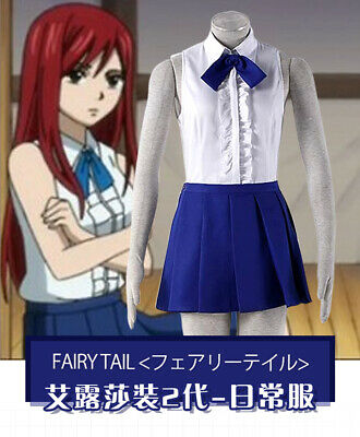 Fairy Tail Erza Scarlet Black Maid Dress Cosplay Uniform HSTM Free shipping /&1