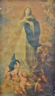Fabulous Large Antique French Religious Print On Canvas, After Murillo, 19th C