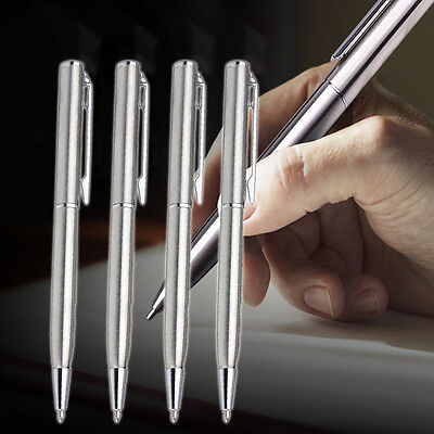 5Pcs Stainless Steel Students Ball-point Pen Short Spin Office School Supplies