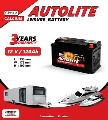 120AH@100hr - 100AH@20hr 12V LEISURE BATTERY FOR CARAVAN CAMPERVAN MOTORHOM