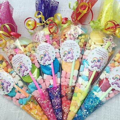 10 X Unicorn Themed Pre Filled Sweet Cones Personalised + Free Sweety Bag