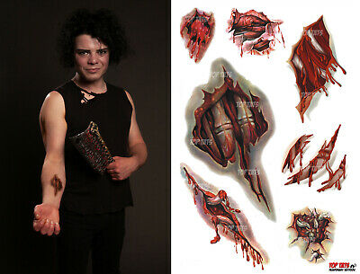 (3 Sets) Halloween Costume Fancy Dress Zombie Tattoos Scars Cuts Wounds Stitches