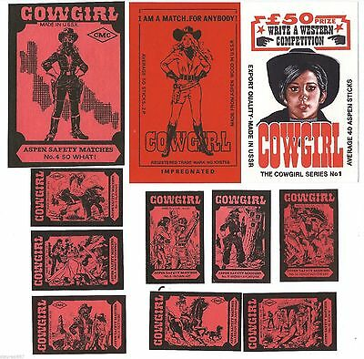 Soviet Latvia Matchbox Labels Export Market Cowgirl Western MF BALTIJA #F23