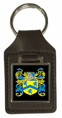 Loukes Family Crest Surname Coat Of Arms Brown Leather Keyring Engraved