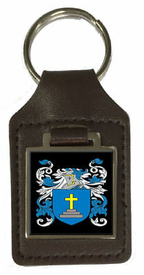 Bryan Family Crest Surname Coat Of Arms Brown Leather Keyring Engraved