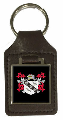 Rowley Family Crest Surname Coat Of Arms Brown Leather Keyring Engraved