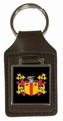 Maccloran Family Crest Surname Coat Of Arms Brown Leather Keyring Engraved