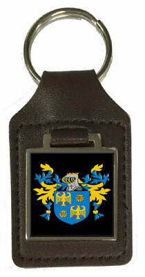 Danaher Family Crest Surname Coat Of Arms Brown Leather Keyring Engraved