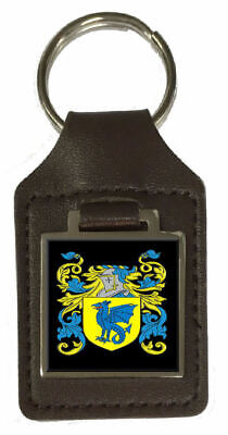 Reece Family Crest Surname Coat Of Arms Brown Leather Keyring Engraved