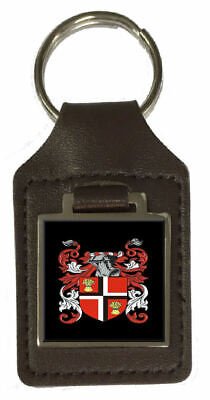 Yair Family Crest Surname Coat Of Arms Brown Leather Keyring Engraved